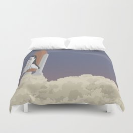 blast off launch pad Shuttle flies into space Duvet Cover