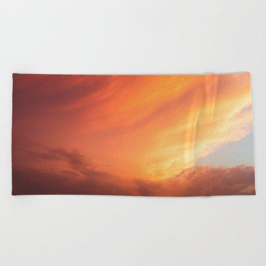 Celestial Fire Clouds Beach Towel