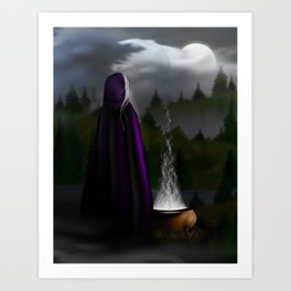Witch and Her Cauldron Art Print