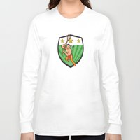 lacrosse Long Sleeve T-shirts featuring Native American Lacrosse Player Shield by patrimonio
