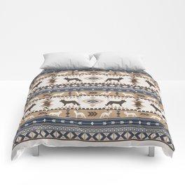 Boho dogs | German shepherd pattern tan Comforters
