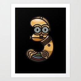 C3PO Type · Black Art Print