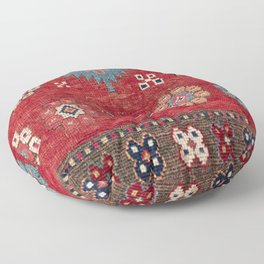 Tribal Honeycomb Palmette // 19th Century Authentic Colorful Red Aztec Flower Accent Pattern Floor Pillow