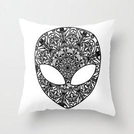 Alien Mushroom Mandala Throw Pillow