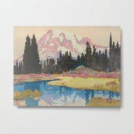 Mount Rainier Vintage Beautiful Japanese Woodblock Print Hiroshi Yoshida Metal Print