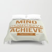 napoleon Duvet Covers featuring Lab No. 4 - Napoleon Hill Success Quotes Inspirational Poster by Lab No. 4