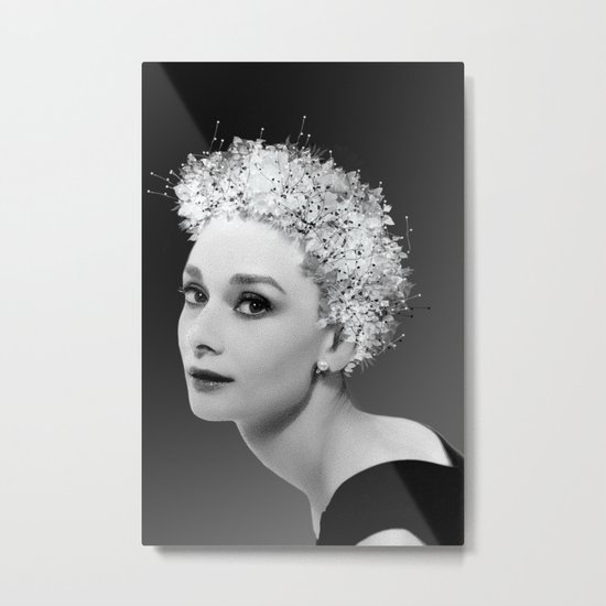 Audrey in Black Metal Print