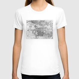Vintage Map of Vancouver Canada (1920) BW T-shirt