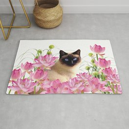 Siam Cat with pink Lotus Flower Blossoms Rug