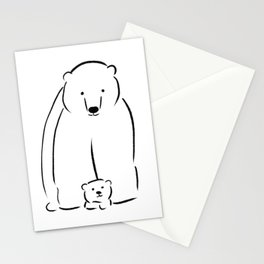 Mama and baby bear - line drawing Stationery Cards