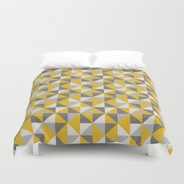 Retro Triangle Pattern in Yellow and Grey Duvet Cover