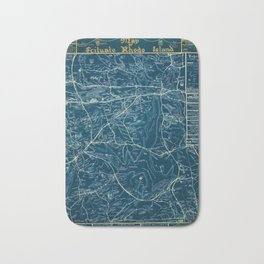 Vintage Lost Villages of Scituate, Rhode Island Map before flooding of Scituate Reservoir Bath Mat