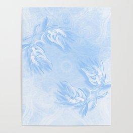 Delicate wattle bouquet in blue Poster