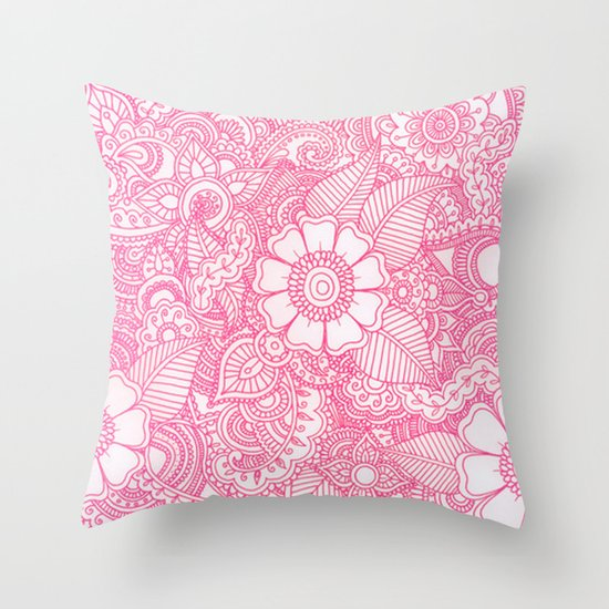 Henna Design - Pink Throw Pillow