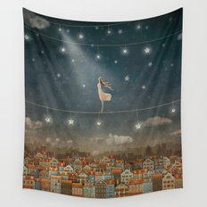 Illustration of  cute houses and  pretty girl   in night sky Wall Tapestry
