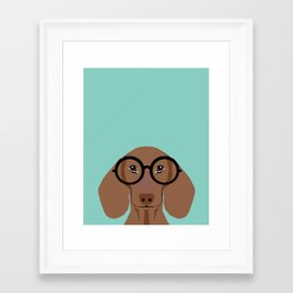 Remy - Daschund with Fashion glasses, hipster glasses, hipster dog, doxie,  Framed Art Print