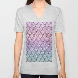 Mermaid Scales on Unicorn Girls Glitter #1 #shiny #pastel #decor #art #society6 Unisex V-Neck