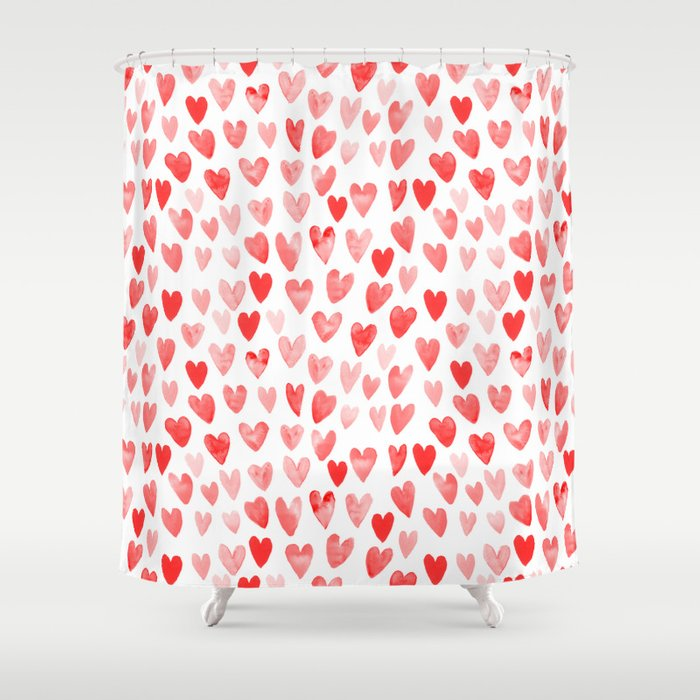 Watercolor Heart Pattern Perfect Gift To Say I Love You On Valentines Day Shower Curtain By Charlottewinter