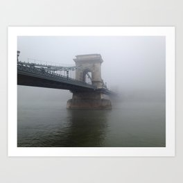 The Misty Chain Bridge In Budapest Art Print