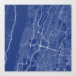 Yonkers Map, USA - Blue Canvas Print