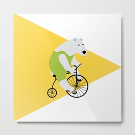 Cycling Polar Bear Triangle Metal Print