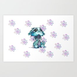 Baby Dragon with Flowers Art Print