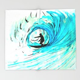 Solo - Surfing the big blue wave Throw Blanket