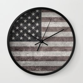 USA flag on hand painted canvas texture Wall Clock