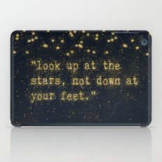 Look up at the stars,not down at your feet- gold glitter Typography on dark backround iPad Case