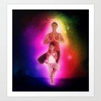 Cosmic family yoga Art Print