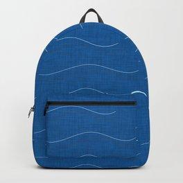SHARK WHALE WAVES BLUE Backpack