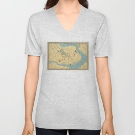 Vintage Map of Boston MA (1890) Unisex V-Neck