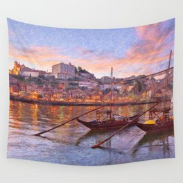 Porto at dusk Wall Tapestry
