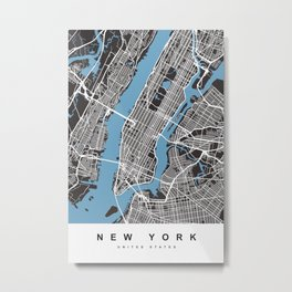 New York Map | Black | More Colors, Review My Collections Metal Print