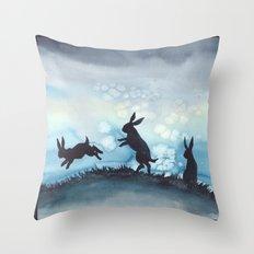 Blue Bunnies Throw Pillow