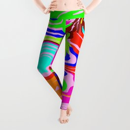 Bright flowing spots of colored lava lines on light blue. Leggings