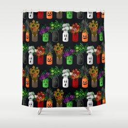 Halloween Mason Jar Bouquets Shower Curtain