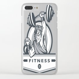 Berserker Lifting Barbell Kettlebell Fitness Circle Retro Clear iPhone Case