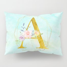 Gold Foil Alphabet Letter A Initials Monogram Frame with a Gold Geometric Wreath Pillow Sham