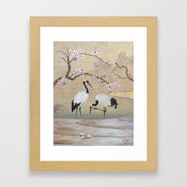Cranes Under Cherry Tree Framed Art Print