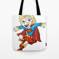 supergirl Tote Bags featuring Supergirl! by neicosta