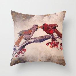 Kissing Cardinals Throw Pillow