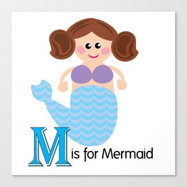 M is for Mermaid Canvas Print