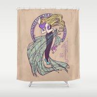 nouveau Shower Curtains featuring Spider Nouveau by Karen Hallion Illustrations