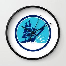 Tall Sailing Ship Lightning Bolt Circle Wall Clock