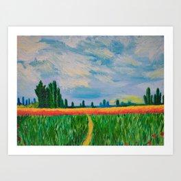Monet's Expressionism Wheat Field Art Print