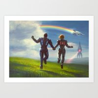 mass effect Art Prints featuring Mass Effect Ending by therealmcgee