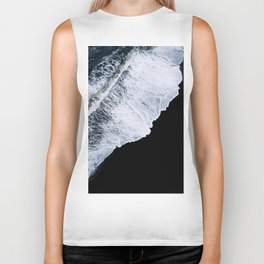 Waves crashing on a black sand beach – minimalist Landscape Photography Biker Tank