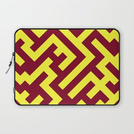 Electric Yellow and Burgundy Red Diagonal Labyrinth Laptop Sleeve
