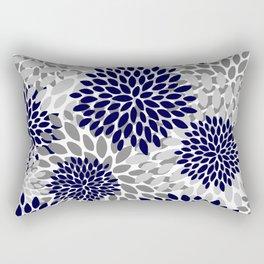 Floral Prints, Navy Blue and Grey, Art for Walls Rectangular Pillow